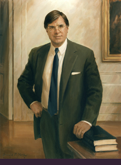 oil portrait painting of Yale President Benno C. Schmidt, Jr. by and © Gerald P. York